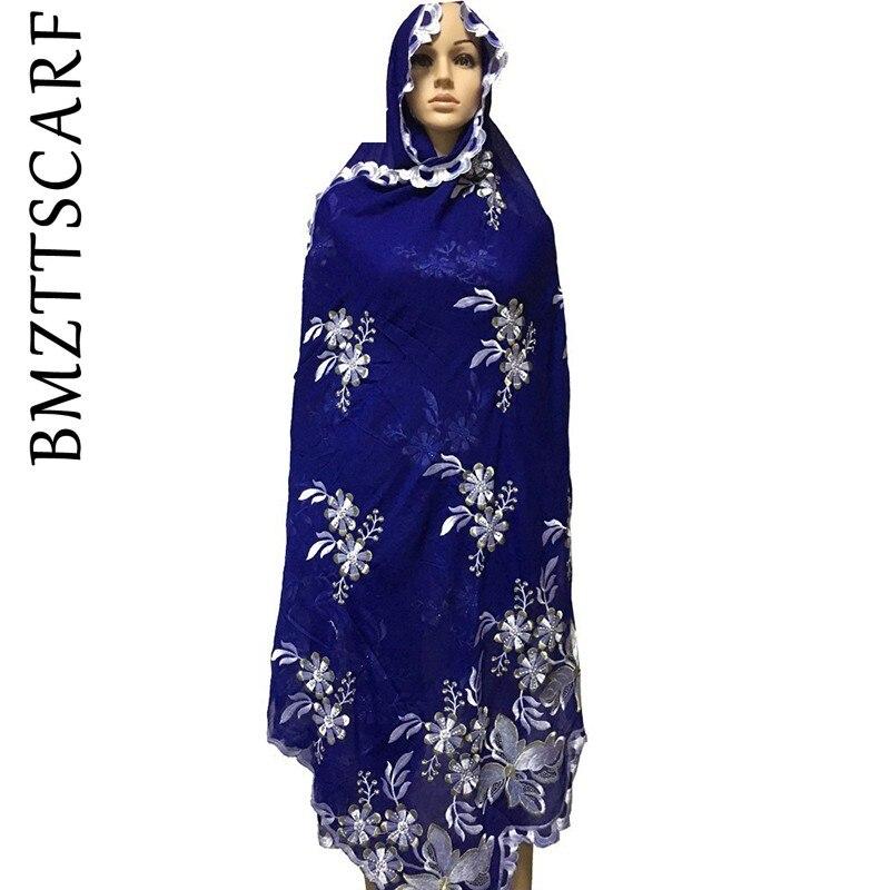 2019 New Fashionable Big flowers new fashion muslim embroidery scarf multinational long scarf shawls wrap BM929