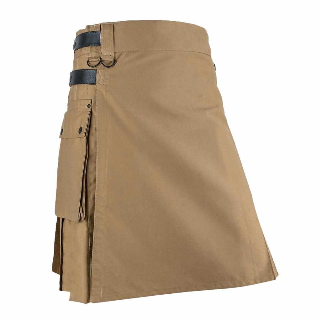 Aanpasbare Broek Mens Vintage Kilt Schotland Gothic Kendo Pocket Rokken Schotse Kleding Geplooide Rok Broek 19Sep04