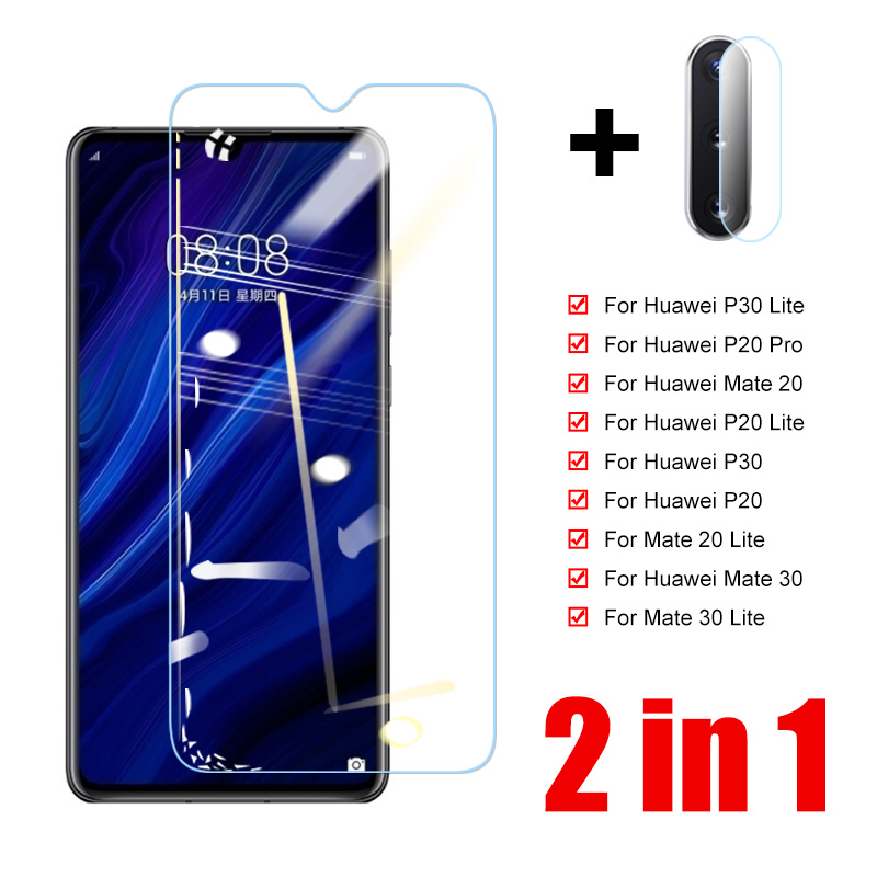 2 In 1 Tempered Glass For Huawei P30 P20 Lite Camera Lens Screen Protector For Huawei Mate 20 30 P20 P30 Lite Protective Glass