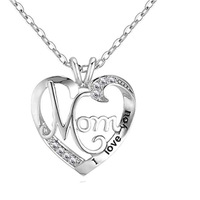 S925 цельное серебряное ожерелье с подвеской для женщин I «Love You Mom» ожерелье с кристалом в виде сердца для подарка на День Матери рождественск...