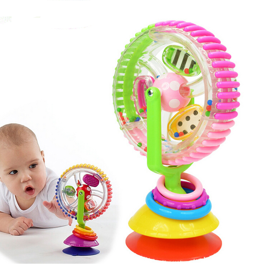 Baby Toys Three-color Model Rotating Windmill Noria Stroller Dining Chair With Suction Cups Educational Rattle Toys For Babies