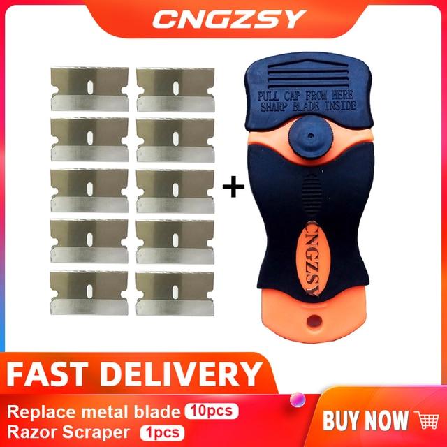 1pc Razor Scraper 10pcs Replacement Metal Blades For Glue Sticker Film Paint Ceramic Oven Stove Car House Floor Cleaning K05 Hot