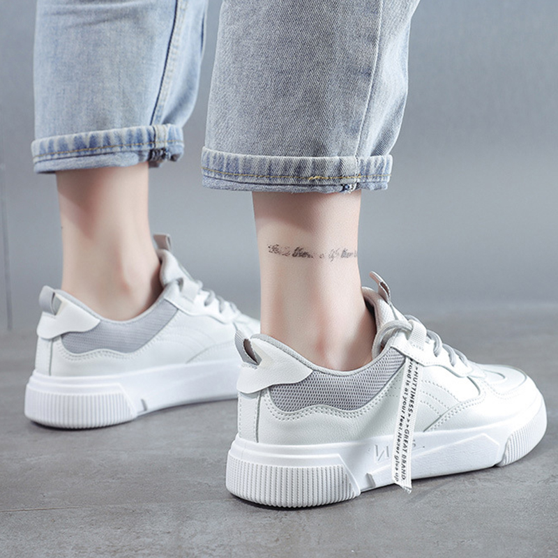 SWQZVT Summer Autumn Sneakers Women Breathable Flat Lace-up Women Vulcanize Shoes White Walking Leather Female Casual Shoes 2020 (26)
