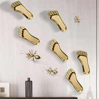 European 3D Luxurious Creative Footprints Wall Decoration Copper Crafts Decor Wall Ornament Wall Hanging Mural Accessories R2762