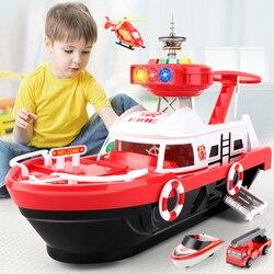 Qwz Big Size Simulatie Track Inertie Boot Diecasts Speelgoed Voertuigen Muziek Verhaal Licht Schip Model Speelgoed Parkeer Jongens Voor kids Gift
