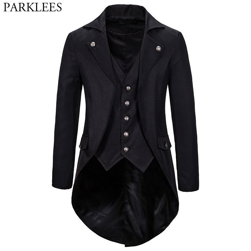 Gothic Victorian Tailcoat Jacket Men Steampunk Medieval Cosplay Costume Male Pirate Viking Renaissance Formal Tuxedo Coats 2XL