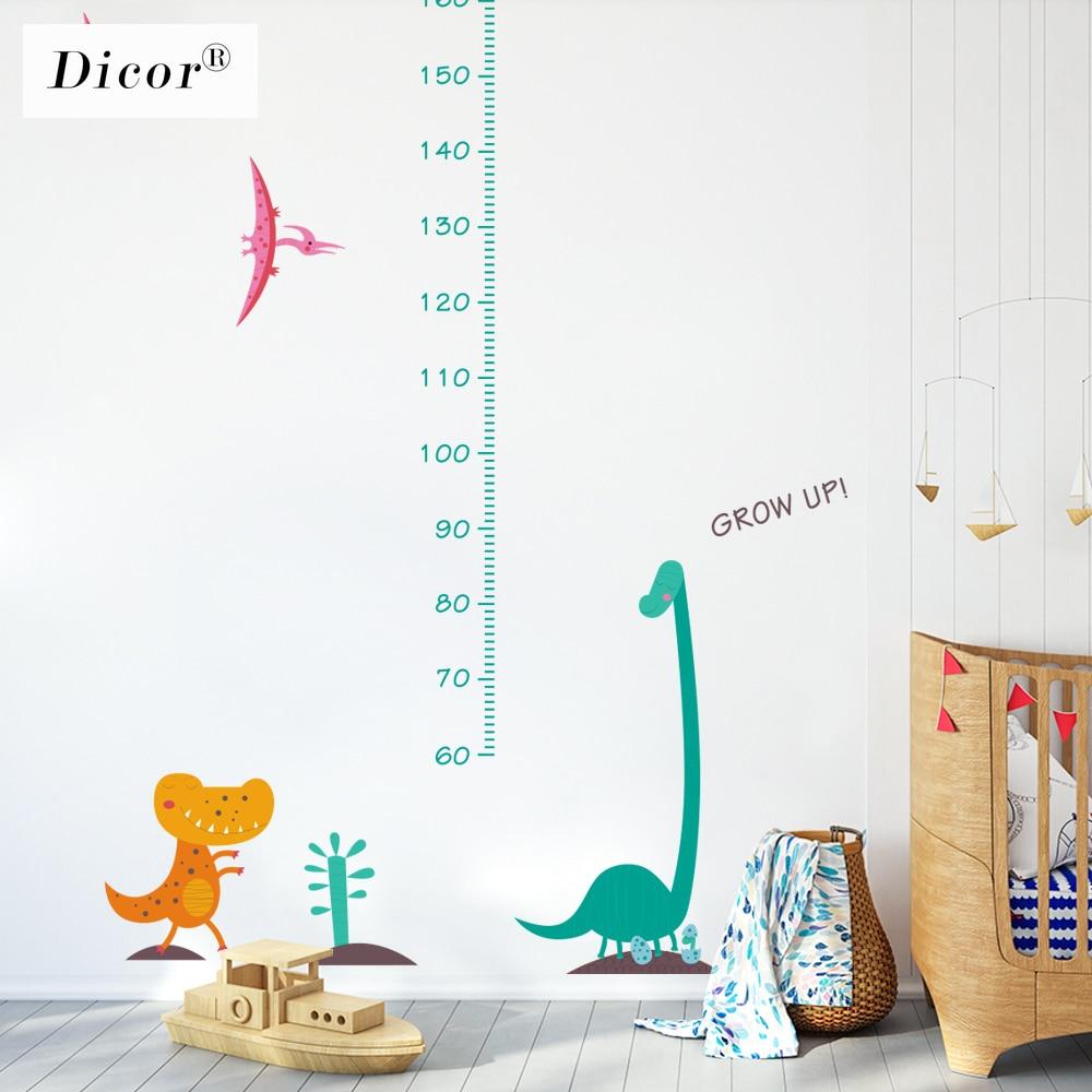 Genuine DICOR Kawaii Dinosaur Cartoon Wall Stickers For Kids Rooms Baby Zimmer Deko Height Measure Wall Decals PVC Self-adhesive