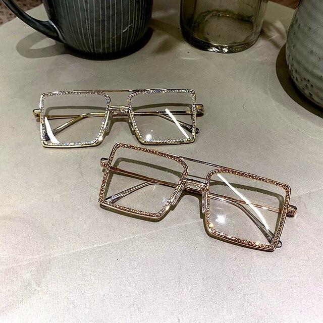 패션 투명한 사각형 선글라스 금속 프레임 여성 안경 안경 안경 프레임 괴상한 일반 안경 맑은 그늘을 overize