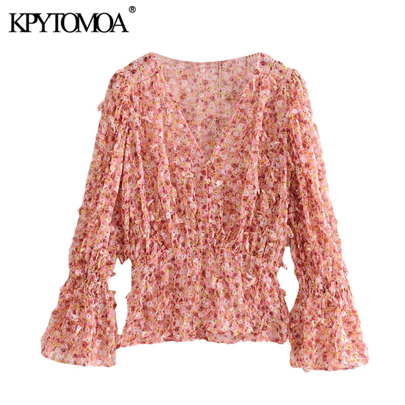 KPYTOMOA Women 2020 Fashion Printed Textured Weave Ruffled Blouse Vintage V Neck Long Sleeve Female Shirts Blusas Chic Tops