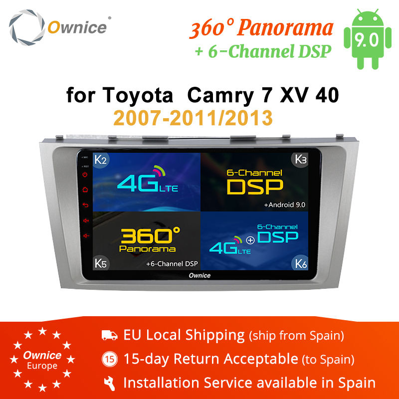 Ownice K3 K5 K6 2 Din Android 9.0 Car Audio Lettore DvD Per Toyota Camry 2007-2011 2013 Radio 4G LTE 360 panorama DSP GPS Navi