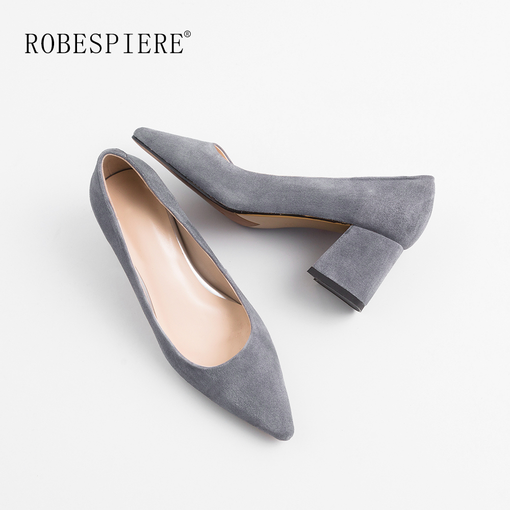 ROBESPIERE Hot Sale Women Office Pumps Quality Kid Suede Square Heels Shoes Female Classics Pointed Toe Shallow Dress A55