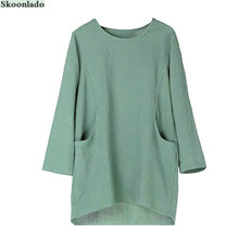 newest women long sleeve cotton linen tops lady linen blouse original oversea brand design casual loose fashion women linen tops