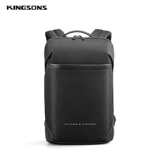 Kingsons magro computador portátil mochila homens 15.6 polegada trabalho de escritório homens mochila de negócios unisex preto ultraleve mochila fina 2