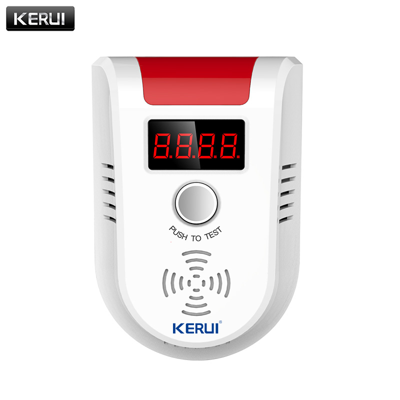 KERUI Wireless Digital LED Display Combustible Gas Detector Home Alarm System Flash Gas Sensor for Home