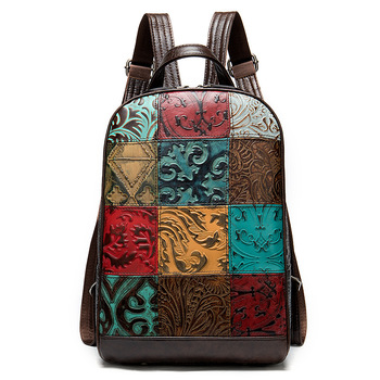 """Summer New Embossed 12"""" Computer Backpacks Women Men Classic Patchwork Arcuate Shoulder Strap Genuine Leather Unisex Bags"""
