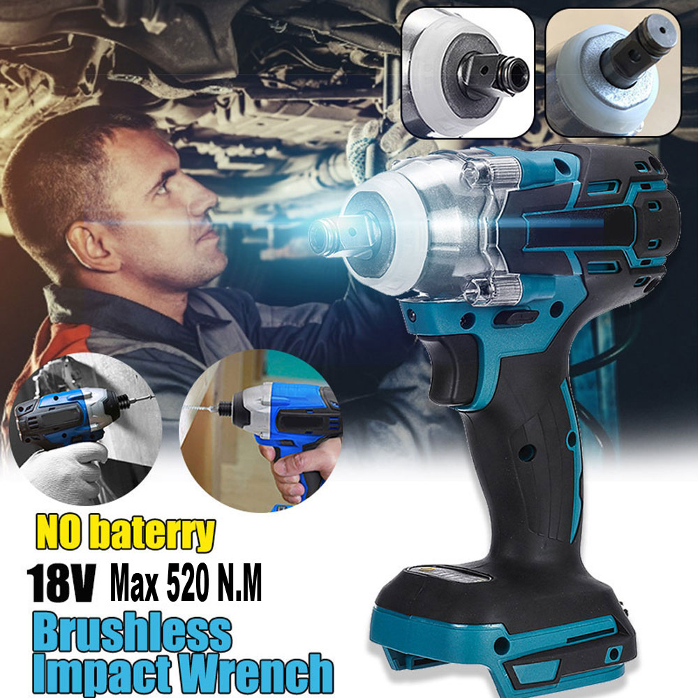 18v Brushless Electric Impact Wrench 1/2  Max 520 N.M Torque,Compatible for Makita BL18 Model Lithium-Ion Battery (Not Include)