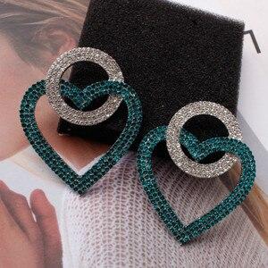2020 Новые Имитация преувеличенные серьги Модные персиковые сердца Европейский и американский стиль любовь кристалл серьги