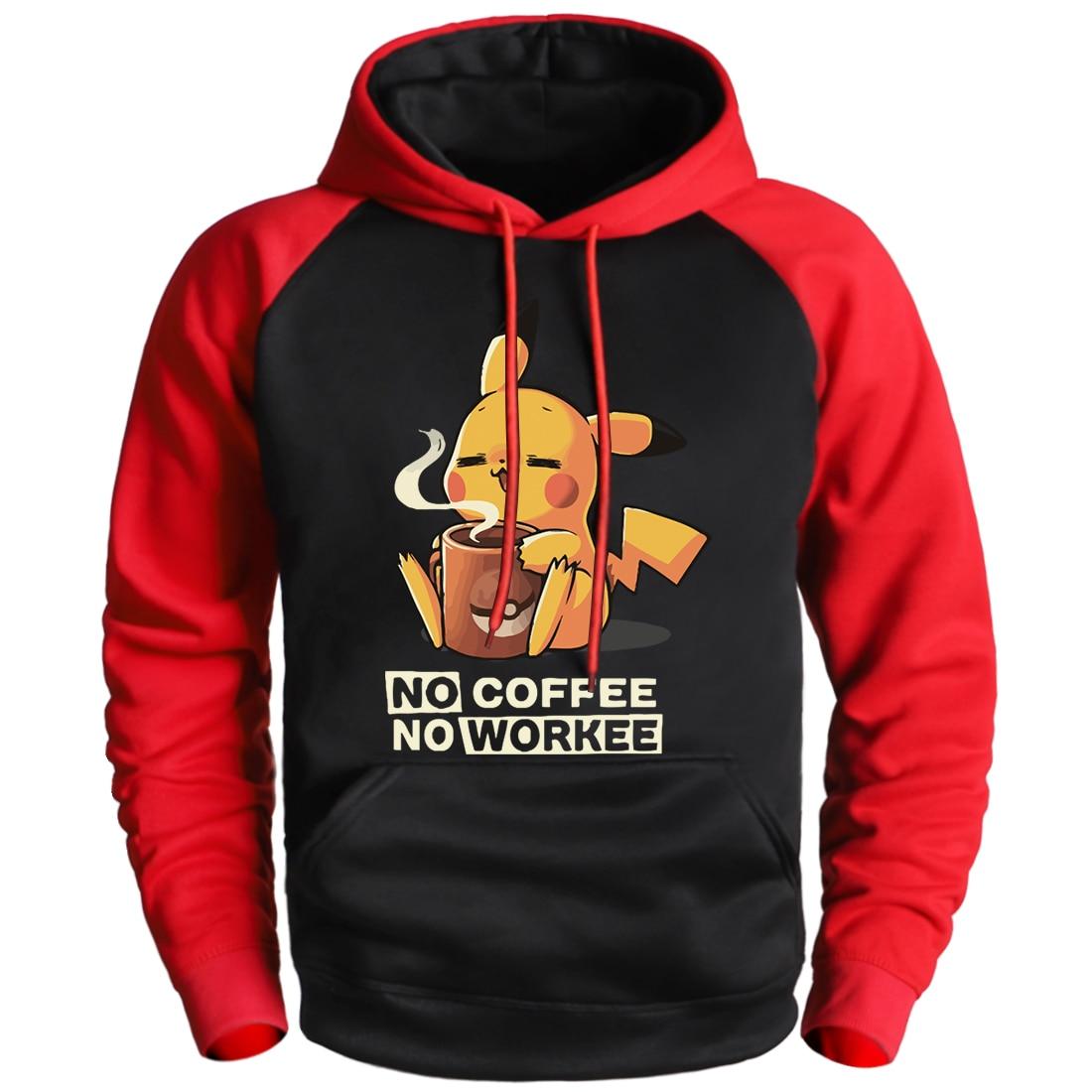 NO COFFEE NO WORKEE Sweatshirt Pikachu Pokemon Hoodie Sweatshirt Pullover Man Winter Fleece Raglan Streetwear 2020 Cartoon Hoody