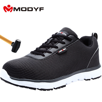 MODYF Men's Safety Shoes Breathable Steel Toe Lightweight Anti-smashing Non-slip Reflective Casual Sneaker Work Shoes