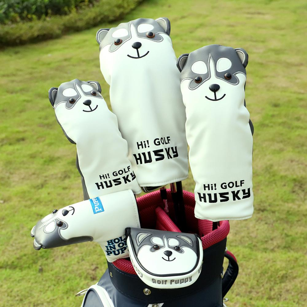 PU Leather Golf Training Aids Golf Headcover Golf Clubs Drivers Cover Protector Husky Lucky Cat #1 #3 #5 Woods Waterproof Covers