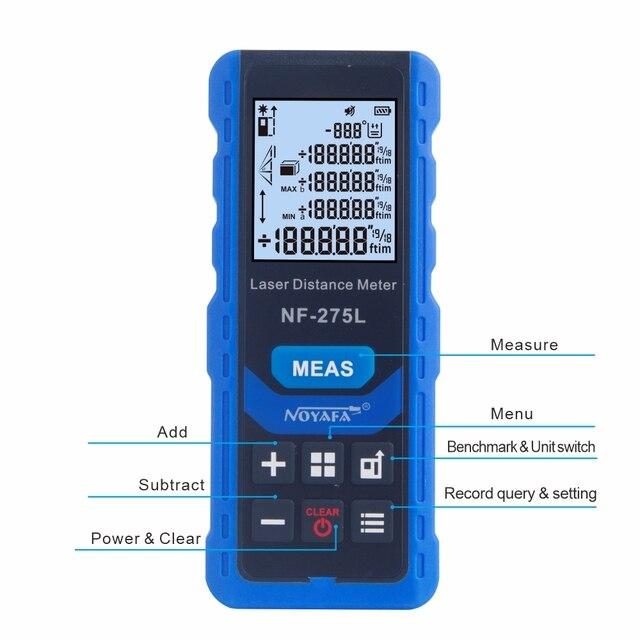 Noyafa NF-275L Green Laser Distance Meter 60M 100M Rangefinder Tape Range Finder Electronic Level Test Instrument 4