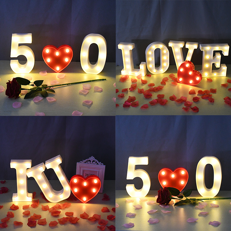 Luminous LED Letter Night Light Number Battery Lamp 26 English Alphabet Lights Romantic Wedding Party Valentine's Day Home Decor