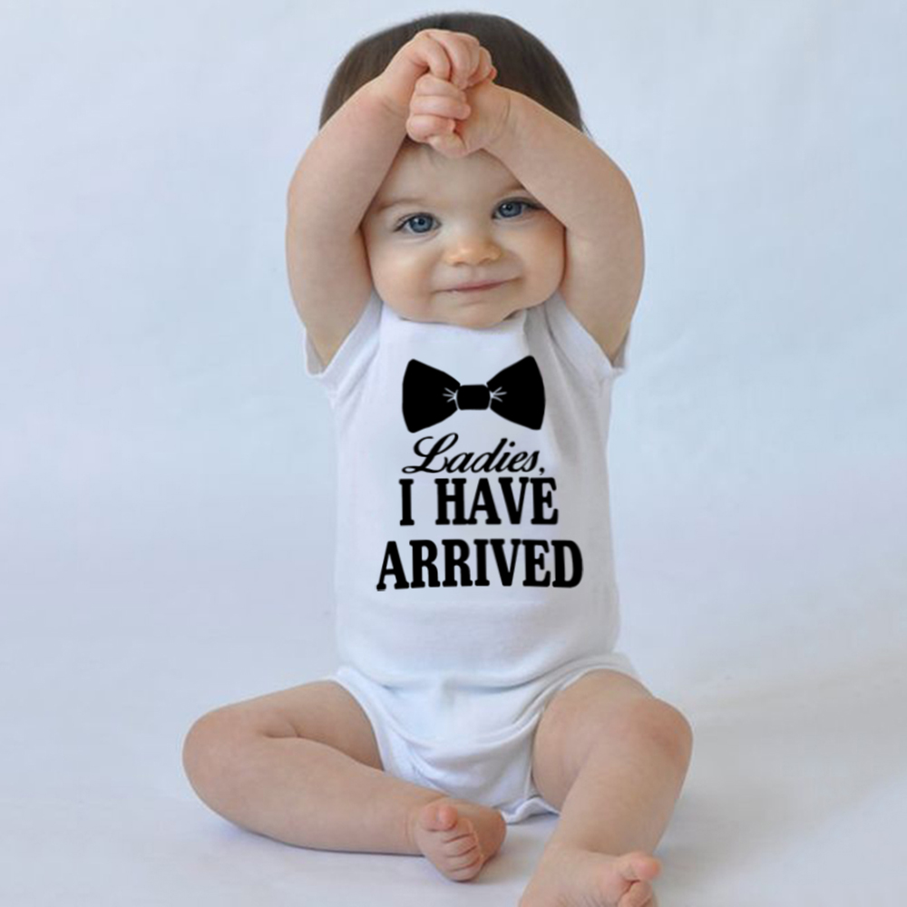 Ladies I Have Arrived Print Funny Newborn Boy Cotton Bodysuit Cute Letters Print Short Sleeve Infant Baby Jumpsuit Outfit 0-24M