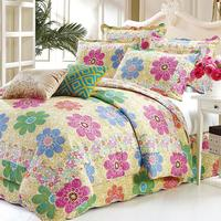 3Pcs 100%Cotton Quilted Queen size Bedspread with Pillow shams Floral printed Colorful Coverlet Bed cover set Soft Bedspread