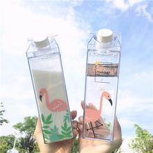 500ml Cute Flamingo Water Bottle Milk Box Shape Transparent Plastic Portable Drinking BPA Free Outdoor Travel