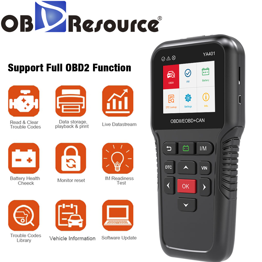 Car Diagnosis YA401 OBD2 Code Reader Scanner Automotive OBD 2 Scan Tool OBDII Auto Tester Upgrade Online PK KW850 X431 CR5001