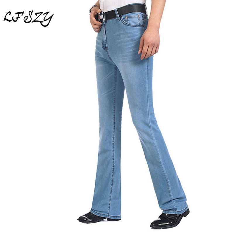 Jeans   Men 2019 New Men's Light Blue   Jeans   Elastic Flare Pants Men's Micro Pants Slim   Jeans   More Sizes 26-36 38 40