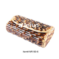 Fashion bamboo wood rattan straw bag High quality Nilerun brand handmade hard bamboo rhizome bamboo root clutch bag purse wallet