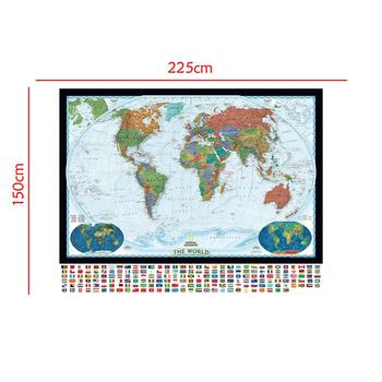 The World Physical Map With World Land Cover And Landforms Foldable No-fading Map With National Flag For Culture And Education