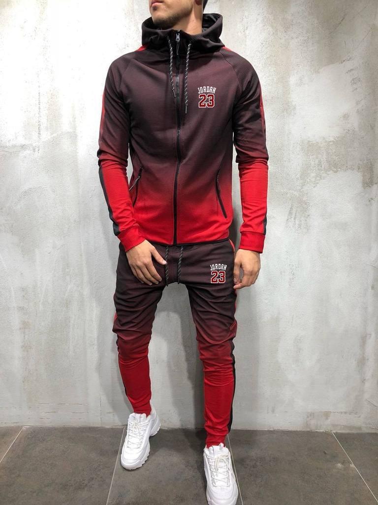 Mens Fashion Zipper Tracksuit Gradient Color 3D Print Casual Sportsuit Men Hoodies/Sweatshirts Sportswear JORDAN 23 Hooded+Pant