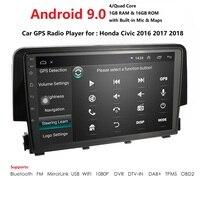 Car Radio Multimedia Video Player Navigation GPS Android 9.0 2 din nodvd for Honda Civic 2016 2017 2018 swc dvbt tpms dab obd bt