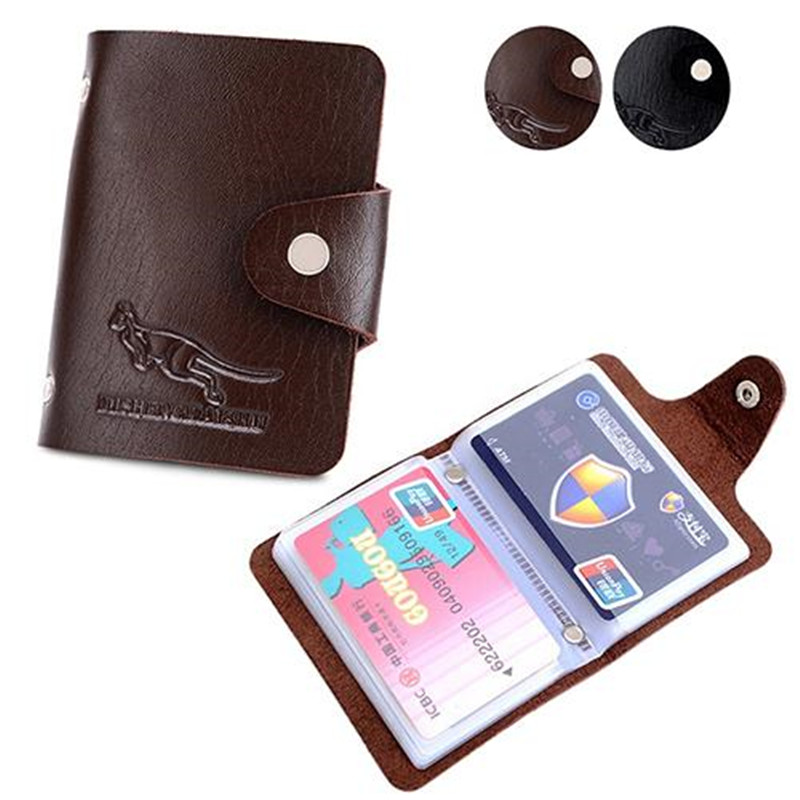 High Quality Men Travel ID Credit Card Holder Porta Carte Di Credito Button Buckle Business Card Case Passport Holder Wallet