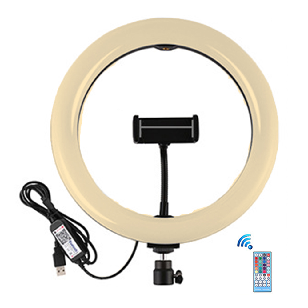 9inch Rotating Photography Remote Control RGB Home Makeup Video For Selfie LED Ring Light With Stand Advertisement Phone Holder