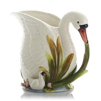 European Pastoral Style Flowers Butterfly White Swan Flowers Vases Ceramic Vase Ornaments Simple Milk Jar Vase Home Decor