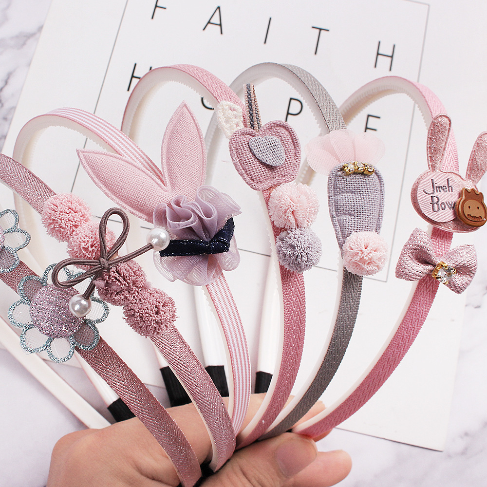 QIYUE003 Child Bowtie Cute Hairband Girl Kids Headband 1pcs Headwear Cartoon Lace Hair Accessories Hair Hoop