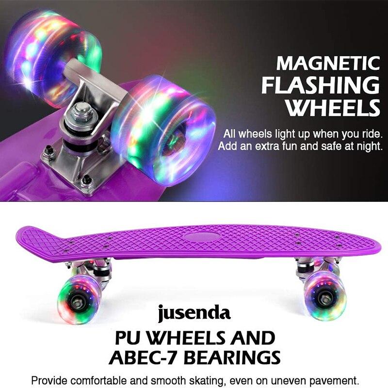 Jusenda 22-дюймовая доска для рыбы мини крейсер скейтборд детский скутер Лонгборд скейтборды Ретро Пенни Доска колеса грузовик подшипники