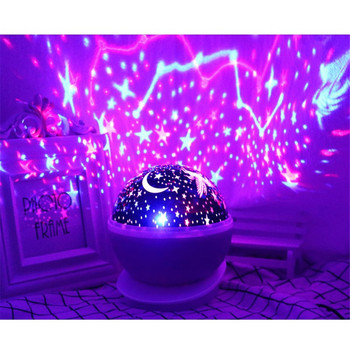 цена на Rotating Projector Starry Night Lamp Sky Star Children Kids Baby Sleep Romantic LED USB Projection Lights Xmas Holiday Gift