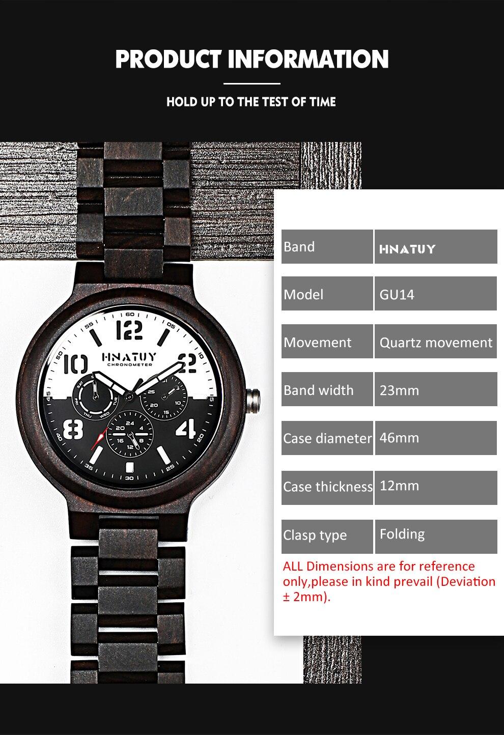 Hf88400bc793c4c3aacdf593cbe1e06e1a Hnatuy Wood Men's Watches Luminous Hands Business Watch