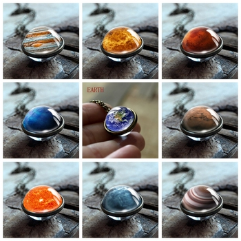 Solar System Double Sided Pendant Necklace Universe Nebula Planet Jewelry Earth Mars Sun Jupiter Art Picture Handmade Necklaces earth system history
