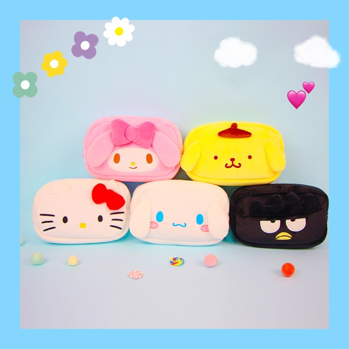 Cartoon Hello Kitty My Melody Cinnamoroll Pompompurin BadBadtz-maru Cosmetic Bag Storage Toiletry Bag Makeup Bag Pencil Case