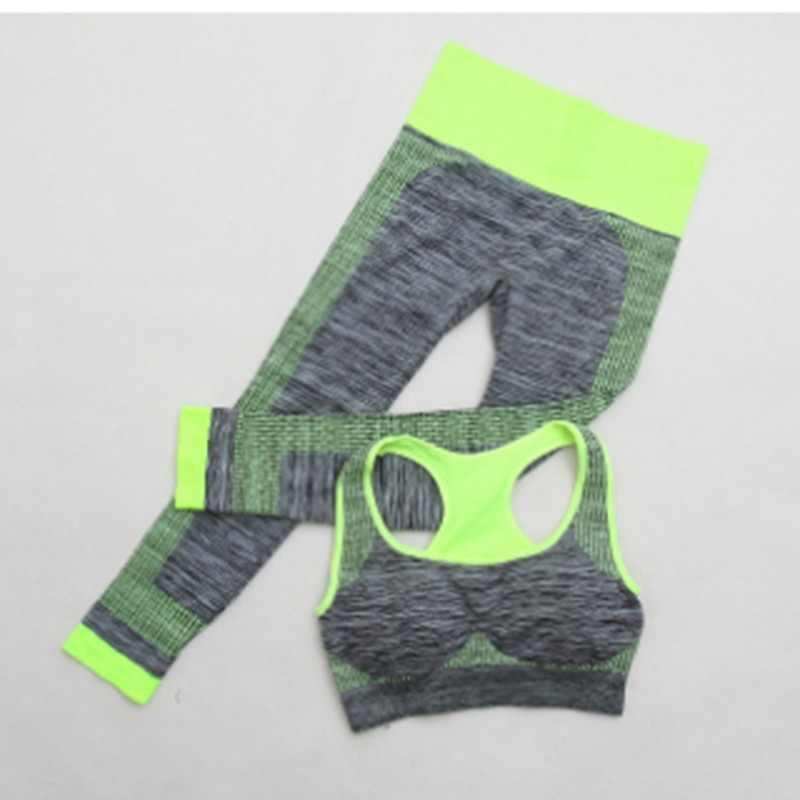 2018 frauen Yoga Set Frauen Sport Set Crop Tops + Yoga Legging Capri Hose Frauen Trainingsanzug Fitness Gym Lauf kleidung 2 stücke