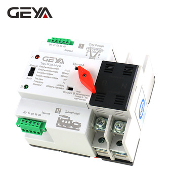GEYA W2R ATS 110V 220V PC Dual Power Automatic Transfer Switch 63A 100A Household Power Transfer Switch 50/60Hz new type 100a 4 poles 3 phase automatic transfer switch ats with english controller