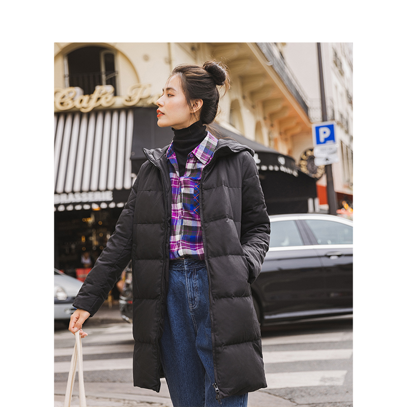 INMAN Winter New Leisure Hooded Down Jackets  Long Women Coat Basic Paragraph