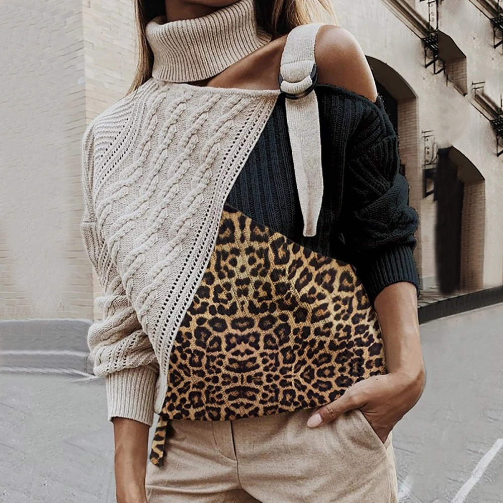 Leopard Patchwork Turtleneck Sweater Women Sexy Shoulder Color Block Knitted Sweaters  Batwing Long Sleeve Pullover