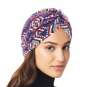 Muslim headdress turban bonnet for woman cotton print inner hijab caps arab wrap hijab femme musulman islamic headscarf hat