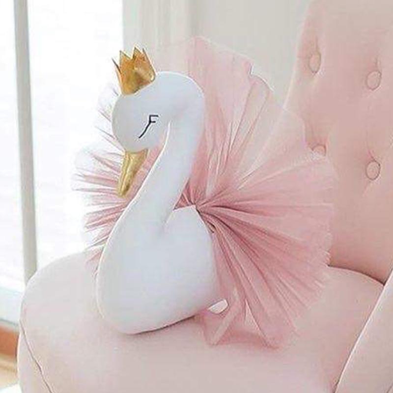 Swan Wall Decoration Flamingo Ballet Tulle Doll Golden Crown Swan Stuffed Toys Animal Head Wall Decor Baby Room Birthday Gift